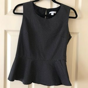 New york and co peplum polka dot black and white